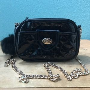 Faux patent leather purse